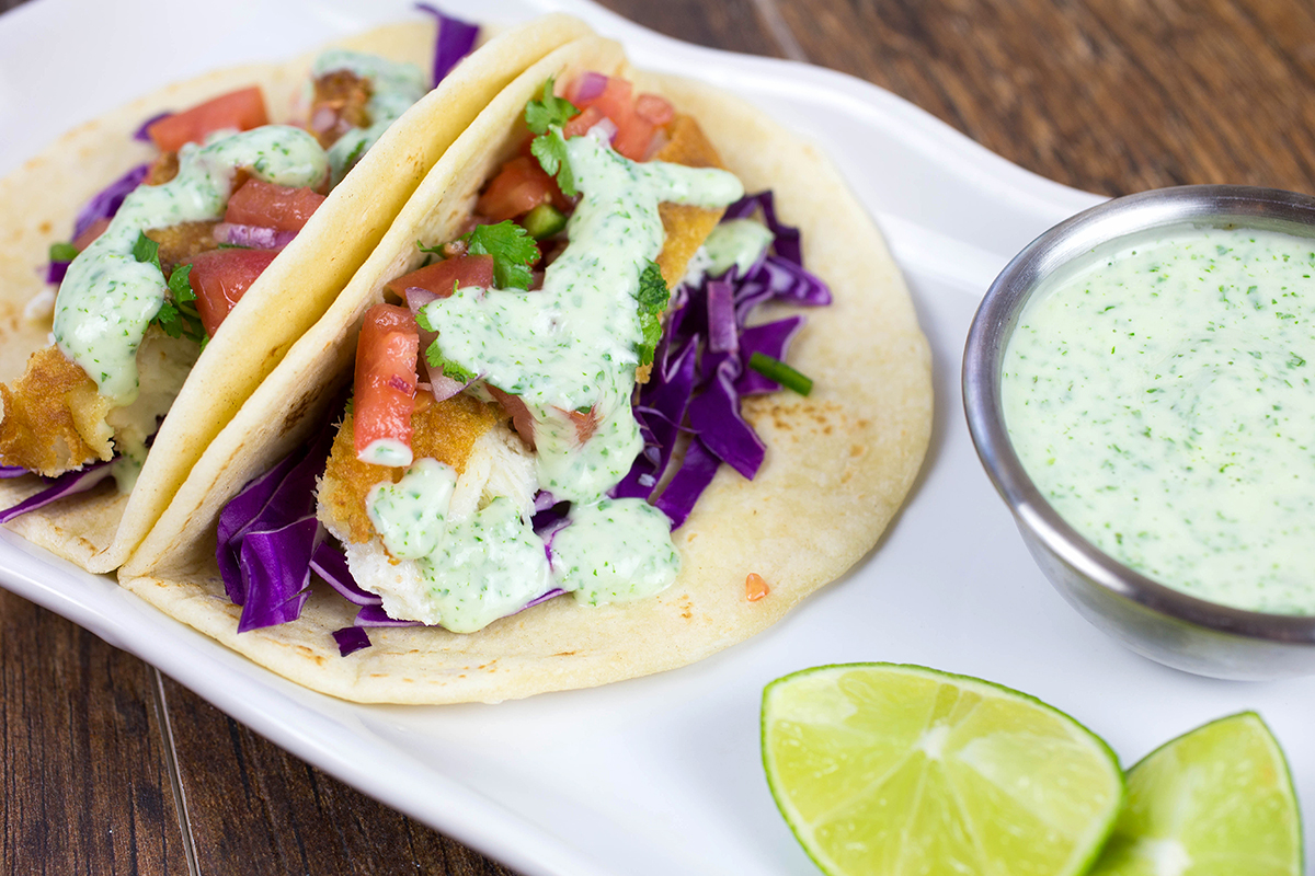 Fish tacos with creamy jalape o sauce foodie fun for Creamy fish taco sauce